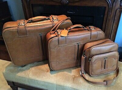 Vintage 1970's Luggage Suitcase Set w/ Carry-on Travel bag by Impala