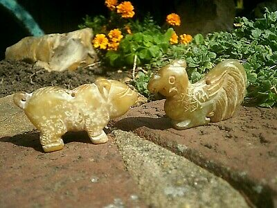 2 Hand Carved stone netsuke cockerel & bear with cord holes collectable figures