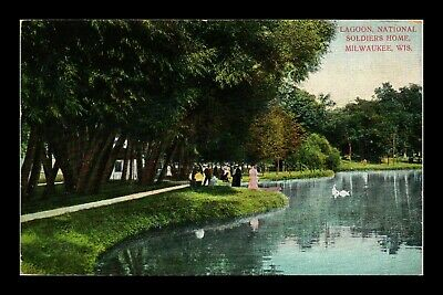 Dr Jim Stamps Us National Soldiers Home Lagoon Milwaukee Wisconsin Postcard