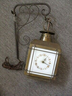 Vintage Brass Outdoor Wall Mount Hanging Electric Clock Lantern~ Works