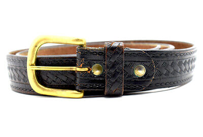 Vintage Handmade Mens Real Leather Belt Brown Size 36