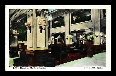 Dr Jim Stamps Us Lobby Plankinton Hotel Milwaukee Wisconsin Kropp Postcard