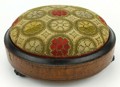 Antique Needlepoint Tapestry Embroidered Foot Stool Rest Bun Feet Small (508)