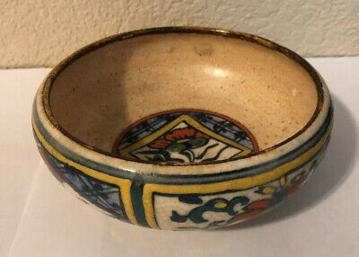 """Antique Vintage Asian Chinese? Painted Pottery Crackle Dish 5.5"""" Bowl As-is"""