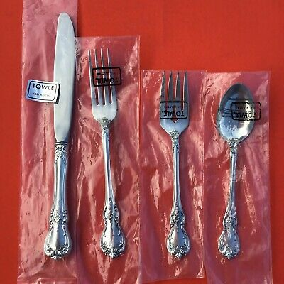 TOWLE OLD MASTER Sterling Silver 4-Pc Dinner Setting NOS Penny-Start Free Ship