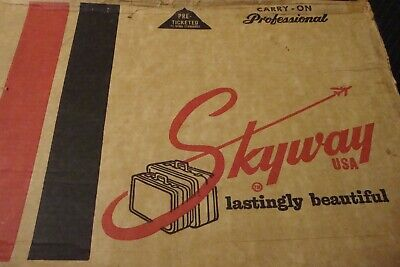 Vintage SkyWay Multi-Colored Plaid Tweed Travel Carry-On Luggage Suitcase In Box