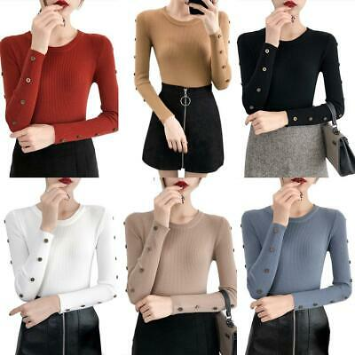 Pure Color Button Sweater O-neck Knitted Jumper Women Lady Long Sleeve Slim Tops
