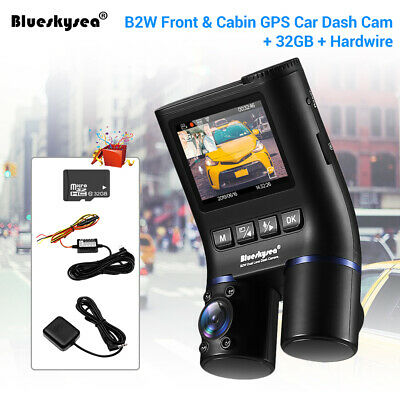 HD 1080P B2W Dual Lens Wi-Fi GPS Capacitor Night Vision Dash Cam Hard Wire +32GB