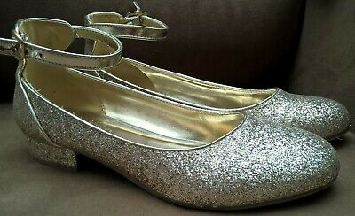 MARKS & SPENCERS M&S UK Sz 5 Sparkly Glitter Gold Party Shoes Low Heel Teen Prom