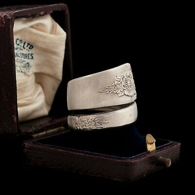 Antique Vintage Art Deco Silver Plated WM ROGERS Floral Spoon Band Ring Sz 7.5