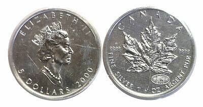 2000 Canada $5 Silver Maple Leaf Fireworks Privy Mark Original Sealed RCM Sleeve