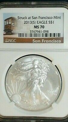 2013(S) $1 American Silver Eagle NGC MS70 ER San Francisco Trolley Label