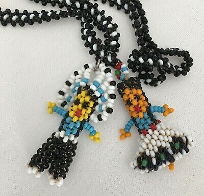 Vtg 1960s Native American INDIAN CHIEF & SQUAW Seed Bead Doll  Necklace Pendant