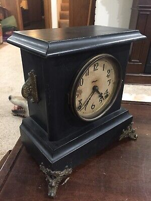 Antique E. Ingraham Black 8 day gong striking mantle clock runs