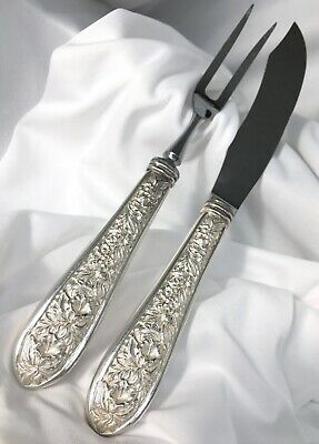 Vtg Stieff Sterling Repousse Silver Corsage 2 pc Set CARVING KNIFE & FORK Meat
