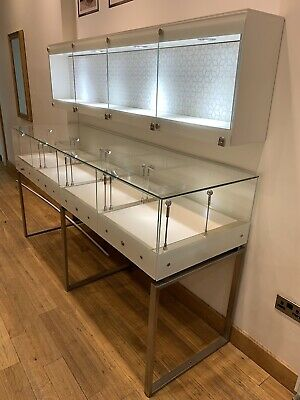 Glass Display Cabinets (Very High End) Floor Standing - Lockable With Lighting