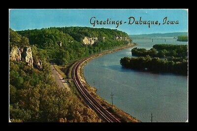 Dr Jim Stamps Us Greetings From Dubuque Iowa Chrome Railroad View Postcard