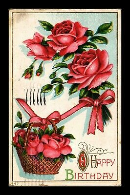 Dr Jim Stamps Us Happy Birthday Flower Basket Embossed Topical Postcard