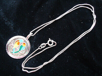 A Fine Vintage Sterling Silver Guilloche Enamel Pendant Necklace With Love Birds
