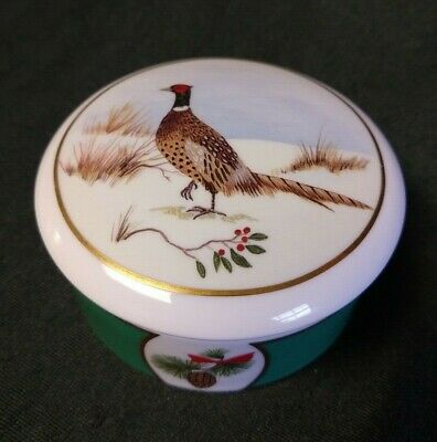 Lynn Chase Winter Game Birds Pheasant Round Trinket Box 24K Gold Decoration