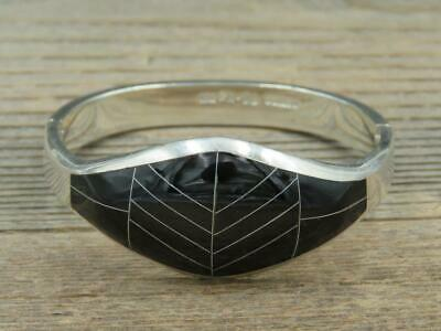 Vintage Taxco Mexico Sterling Silver Black Onyx Inlay Hinged Bangle Bracelet