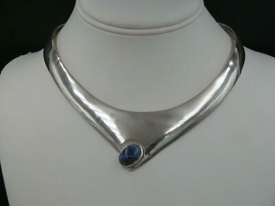 """Vintage Taxco Mexico Sterling Silver Modern Sodalite 15"""" Collar Necklace"""
