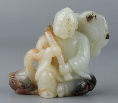 Chinese Exquisite Hand-carved child Goose Carving Hetian jade statue