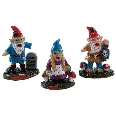 Lemax Spooky Town Zombie Garden Gnomes Set of 3 New