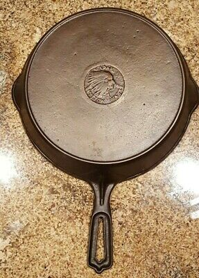 Antique Restored WAPAK #8 Indian Cast Iron Skillet w/Heat Ring - Small Hairline