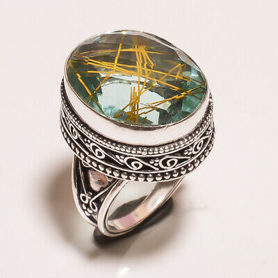 Golden Needle Rutile .925 Silver Plated Carving Ring Size-7.50 Jewelry JA614