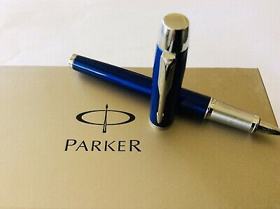🔥PARKER FOUNTAIN PEN CHROME Cobalt Blue Stainless Steel Pen Mint Used Condition