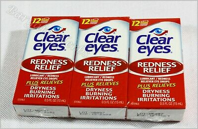 3pack Clear Eyes Redness Relief Eye Drops, 0.5 Oz (15ml) Free Shipping