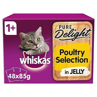 48 x 85g Whiskas Pure Delight 1+ Adult Cat Food Pouches Mixed Poultry in Jelly