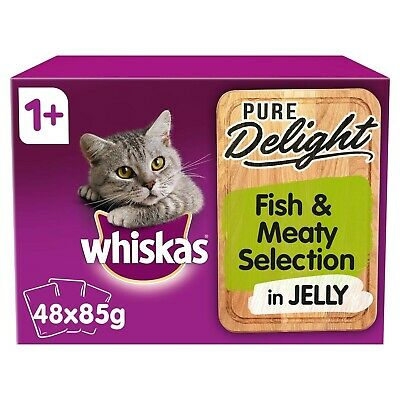 48 x 85g Whiskas Pure Delight 1+ Adult Cat Food Pouches Fish & Meat in Jelly