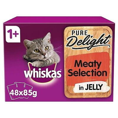 48 x 85g Whiskas Pure Delight 1+ Adult Cat Food Pouches Mixed Meaty in Jelly