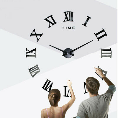 Large 3D Number Mirror Wall Clock DIY Sticker Decor for Home Office Kids Room UK