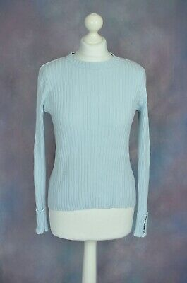 RALPH LAUREN Polo Jeans Blue ribbed jumper SMALL Up to 10