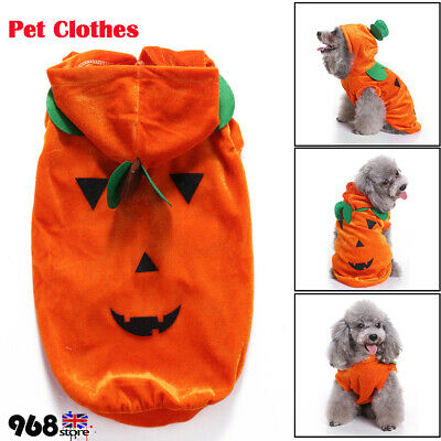 Pet Cat Dog Puppy Halloween Cosplay Costume Pumpkin Pattern Jumpsuit Clothes UK