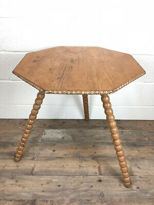 Octagonal Pine Table on Bobbin Turned Legs  - Delivery Available