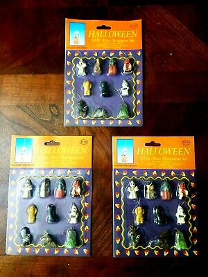 3 Packs of 10 Mini Halloween Ornaments! Brand New Unopened! 30 Total!