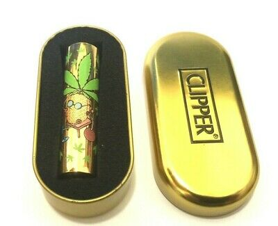 CLIPPER GOLD WEED LEAF RELAX METAL CASE CIGARETTE MINI LIGHTER with GIFT TIN
