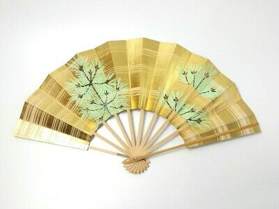 Japanese antique vintage gold pine Maisen Ougi Sensu folding fan chacha