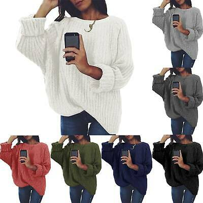 Womens Casual Baggy Jumpers Winter Warm Long Sleeve Oversized Sweaters Plain Top