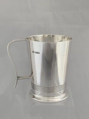 Art Deco Silver HALF PINT MUG 1945 Sheffield HENRY ATKIN Sterling Beer Tankard