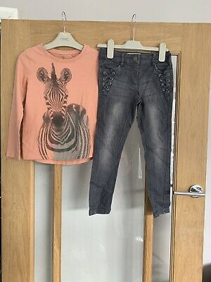 Next Girls Outfit Age 6 Years Zebra Long Sleeved Top & Jeans