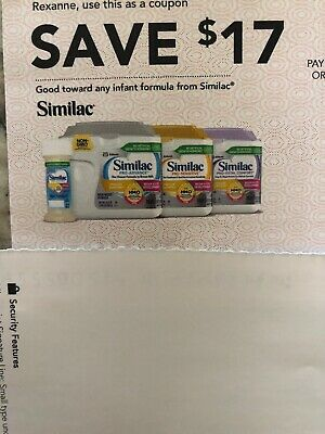 1 similac coupons checks Worth $17 Expires 10/9/2019