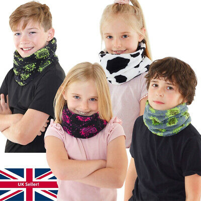 Boys Girls Kids Soft Fleece Neck Warmer Snood Scarf Cosy Warm Winter Printed