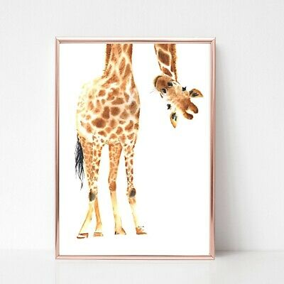 giraffe Print poster a4  picture nursery unframed animal wall art leaning