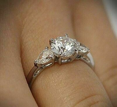 2.66 Ct Near White Round Diamond Side Pear Engagement Ring 14k White Gold Over