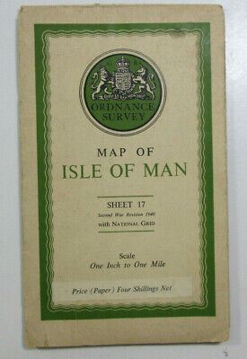 1940 Old OS Ordnance Survey Popular Edition Style One Inch WO Map 17 Isle of Man
